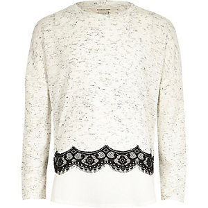Girls lace trim slouch top