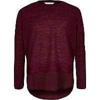 Girls dark red lace trim slouch top