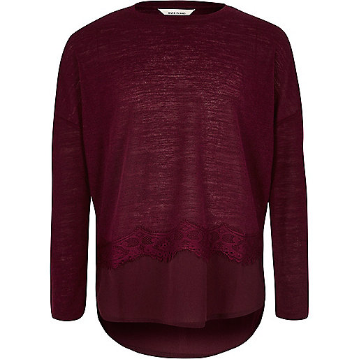 Girls burgundy lace trim slouch top