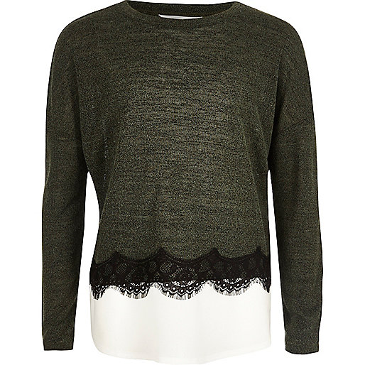 Girls khaki lace trim slouch top