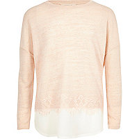 Girls pink pearl embellished lace hem sweater