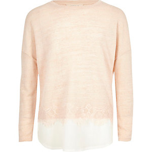 Girls pink pearl embellished lace hem jumper