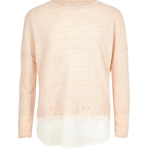 Girls pink pearl embellished lace hem jumper