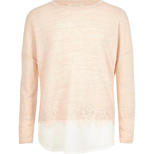 Pullover mit verziertem Spitzensaum in Rosa