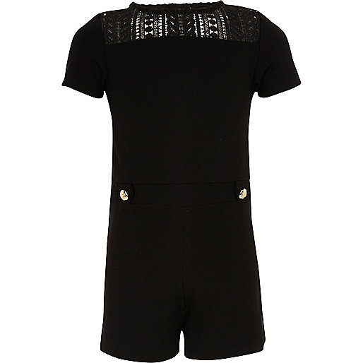 Girls black ponte lace playsuit