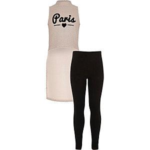 Girls pink Paris top leggings outfit
