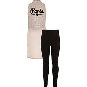 Ensemble legging et top Paris rose pour fille