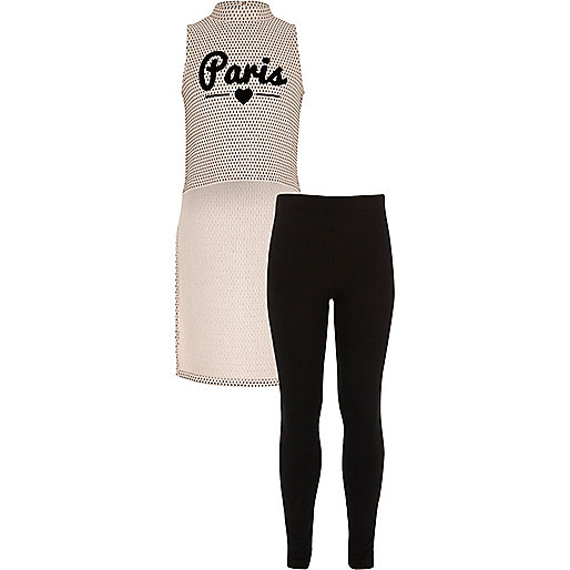 Girls pink Paris top leggings outfit