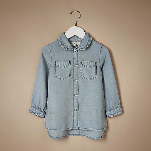 Blaue Tencel-Bluse mit Rüschensaum