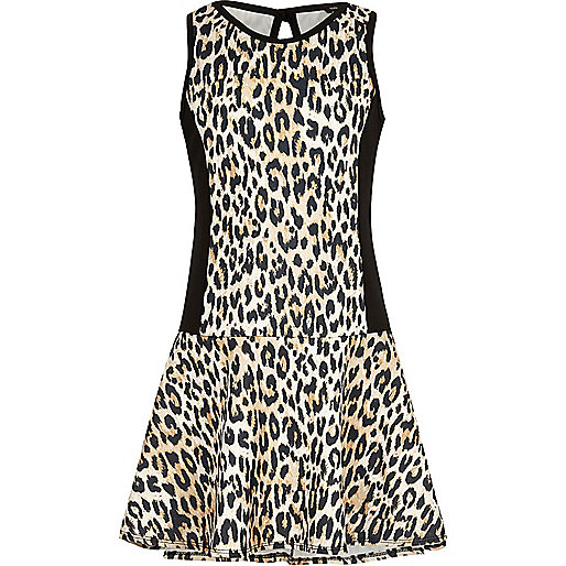 Girls drop waist leopard print scuba dress