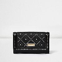 Girls black laser cut trifold purse