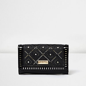 Girls black laser cut trifold purse