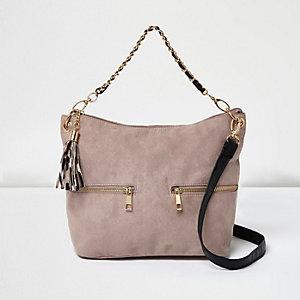 Girls pink tassel suede slouch bag
