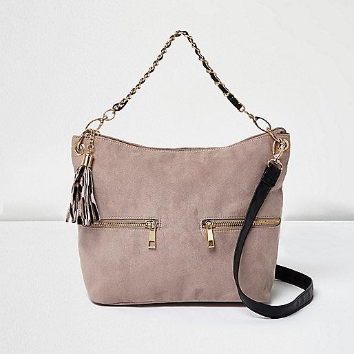 Girls pink tassel trim slouch bag