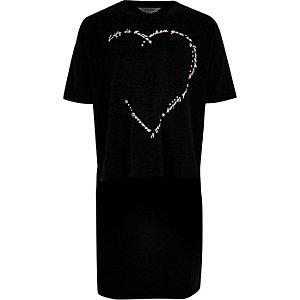 T-shirt noir à imprimé et ourlet plongeant pour fille