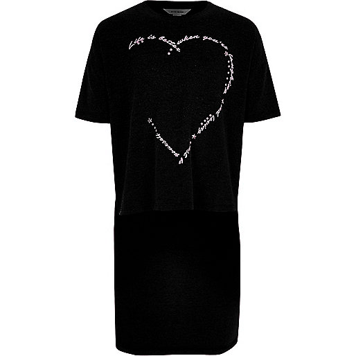 Girls black print dipped hem T-shirt