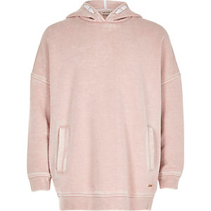 Girls blush pink washed hoodie