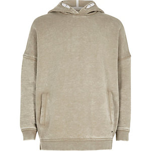 Girls light grey washed hoodie