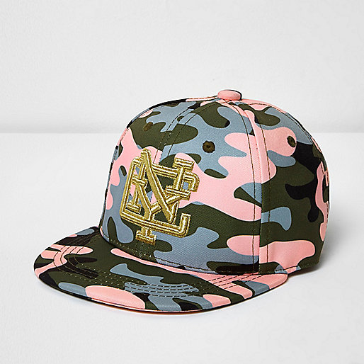 Casquette NYC motif camouflage rose mini fille