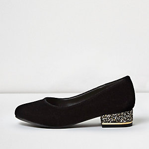 Girls black velvet embellished ballet flats