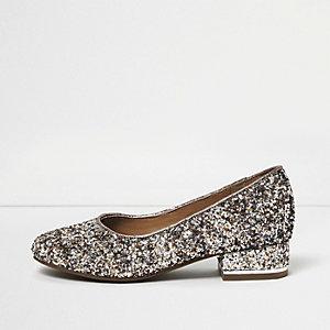 Girls silver glitter heeled ballet pumps