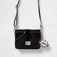 Girls black satchel bag with tag