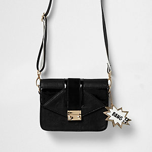 Girls black satchel bag with animated tags