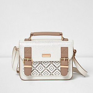 Girls cream laser cut satchel bag