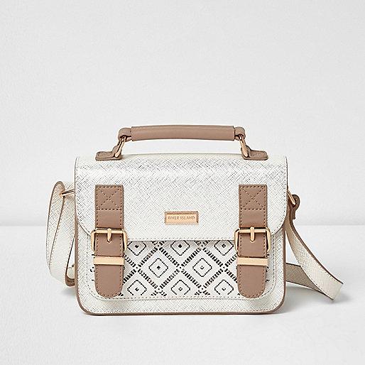 Girls cream laser cut satchel bag