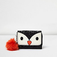 Girls black glitter penguin trifold purse