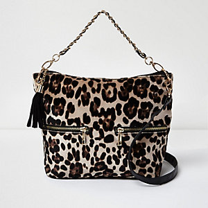Girls leopard print slouch bag