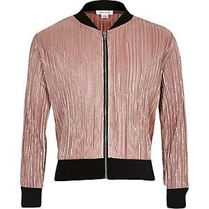 Girls metallic pink plisse bomber jacket
