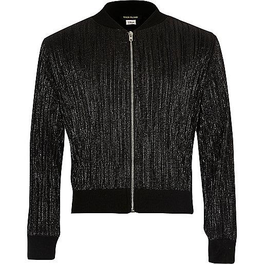 Girls metallic black plisse bomber jacket