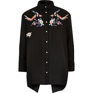 Girls black embroidered shirt