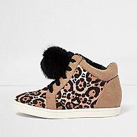 Girls leopard print pom pom trainers