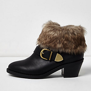 Girls black western faux fur cuff boots