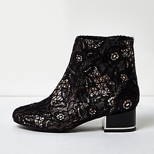 Girls black lace block heel boots