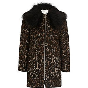 Veste en fausse fourrure à imprimé léopard marron pour fille