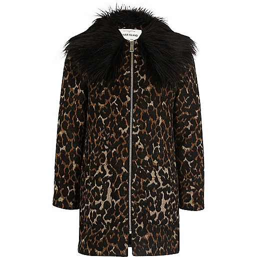 Girls brown leopard print faux fur jacket