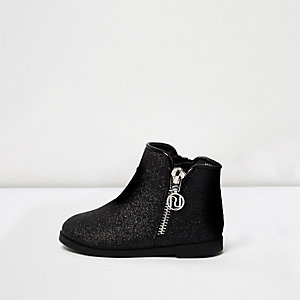 Mini girls black glitter ankle boots