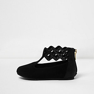 Mini girls black strap ballet pumps