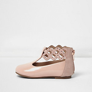 Mini girls pink patent strap ballet pumps