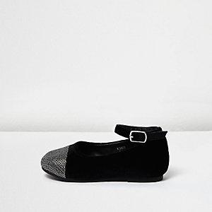 Mini girls black metallic toe ballet flats