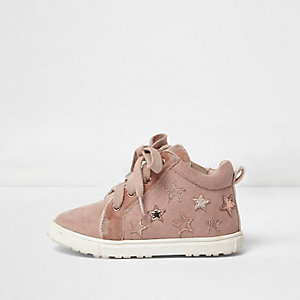 Mini girls pink star hi tops