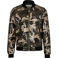Girls khaki sequin camo bomber jacket