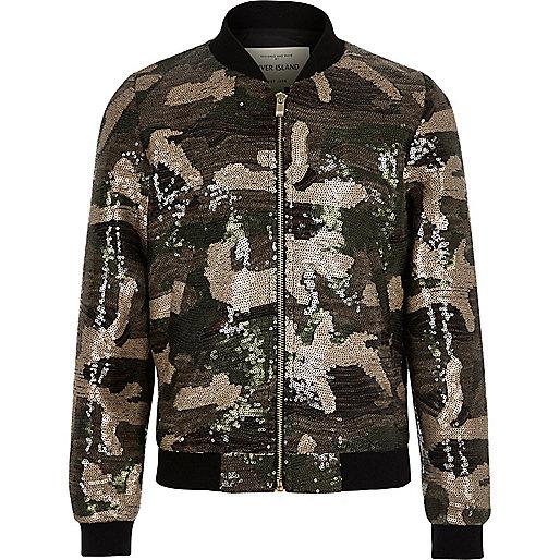 Paillettenverzierte Bomberjacke in Khaki mit Camouflage-Muster