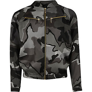 Girls khaki camo zip bomber jacket