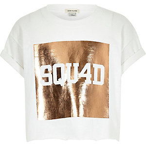 Girls white squad print crop top