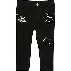 Mini girls black embellished jeans