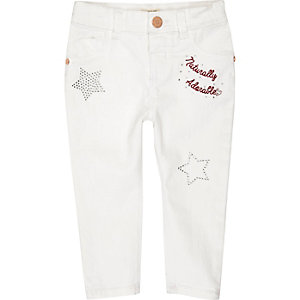 Mini girls white embellished jeans